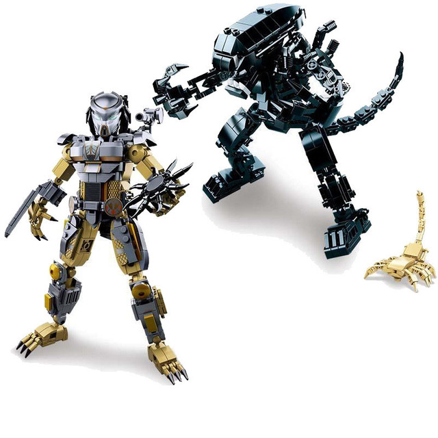 2Pcs Super Heroes The Movie Series Alien vs. Predator Collection Building Blocks Figures Children Gift Toy Compatible With Lego