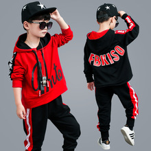 Children's clothing spring and autumn new cotton long-sleeved letter hooded boy suit in the fashion trend loose sweater + pants 2018 minecraft pants long sleeve suit boy clothing jacket spring and autumn hooded sweater suit children s t shirt 6 14y