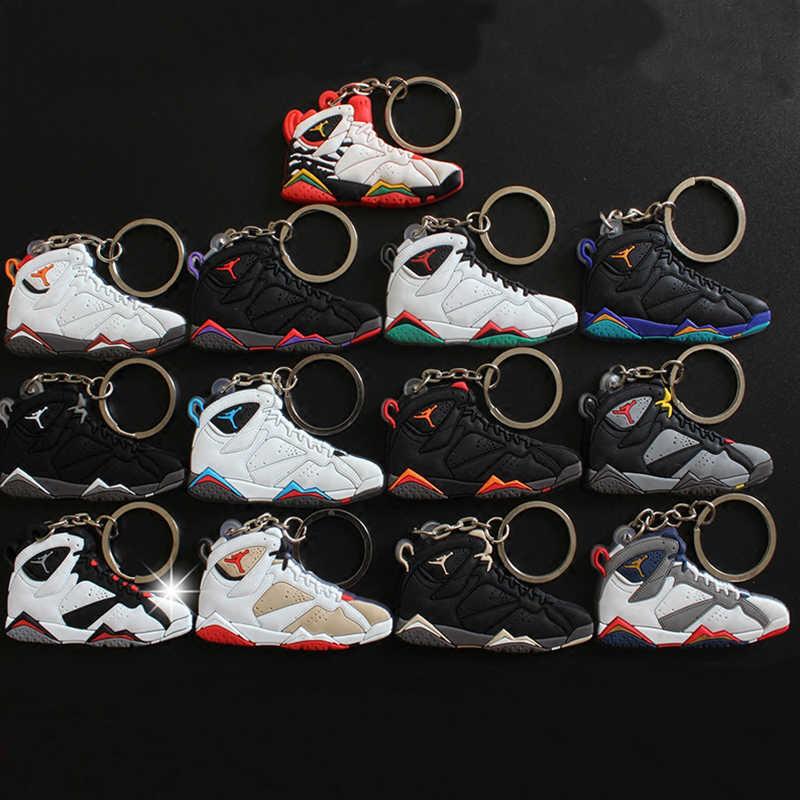 13 cái/lốc Anime Đồ Chơi Mặt Dây Chuyền AJ 7 Móc Khóa Giày Sneaker Da Chìa Khóa Dây Chuyền Chìa khóa Cho Người Phụ Nữ Người Quà Tặng Porte clef AJ 7