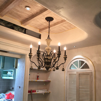 Nordic bar Vintage ceiling Chandelier Lighting Rustic Candle Chandeliers American country light kitchen LED lamps