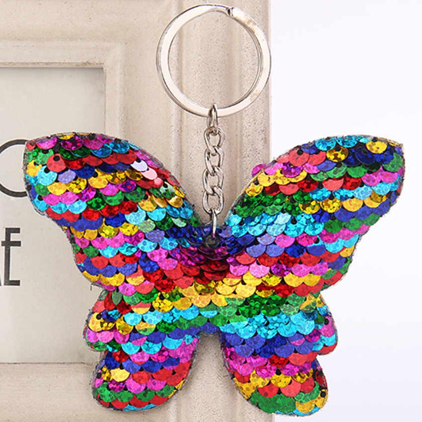 Borboleta Sequin Glitter Lantejoulas Artesanato Pingente de Chave Da Cadeia de Favores Do Partido Presente da Festa de Aniversário Decoração Do Carro Ornamentos Saco Menina Crianças Brinquedo