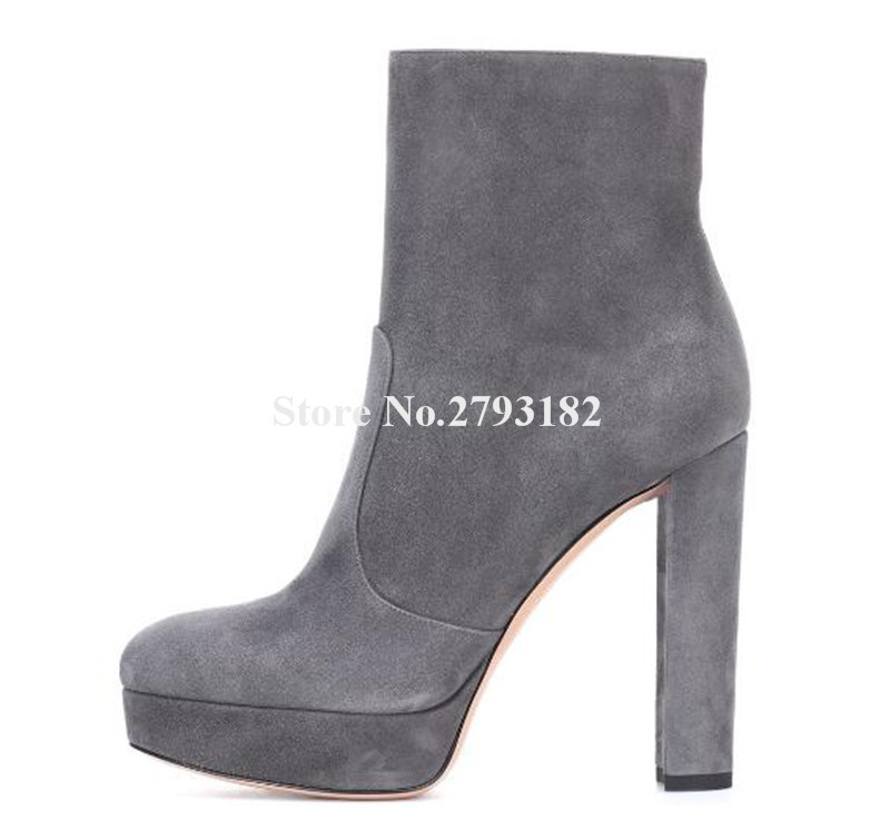 Brand Fashion Round Toe Suede Leather High Platform Chunky Heel Short Boots Side Zipper-up Grey Black Thick High Heel Ankle Boot womens punk ankle boots chunky heels platform side zip leather moto shoes woman high heel thick heel platform motrocycle boot