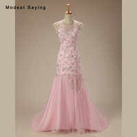 Elegant Pink Mermaid O Neck Beaded Evening Dresses 2017 Romantic Formal Women Long Engagement Party Prom Gowns robe de soiree