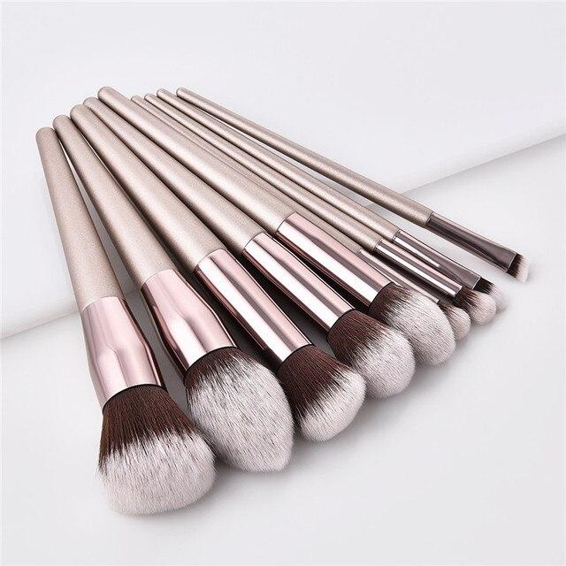 10pcs/set Champagne makeup brushes set for cosmetic foundation powder blush eyeshadow kabuki blending make up brush beauty tool 1