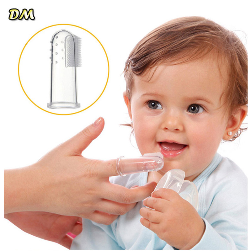 500Pcs Portable Kids Baby Infant Soft Silicone Finger Toothbrush Teeth Rubber Massager Brush Clean Teeth image