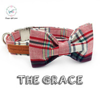 Pink Plaid Dog Collar With Bow Tie Matel Buckle Cotton Fabric Dog Cat Necklace Dog Collar