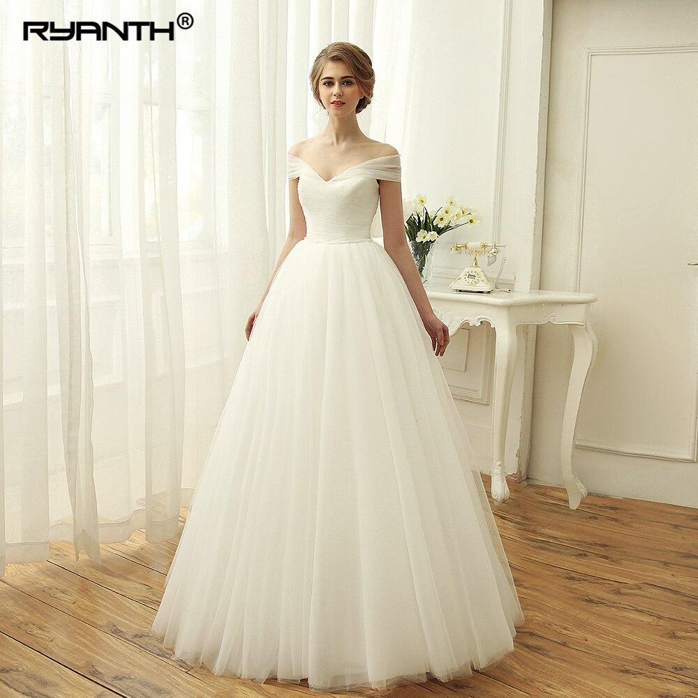 Ruching Wedding Gowns: Vestido De Noiva Cheap Floor Length Boho Wedding Dress