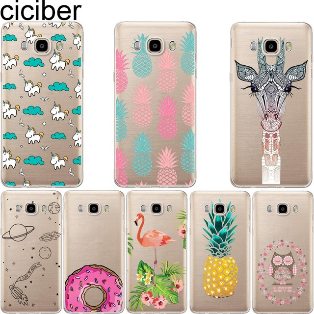 ciciber pineapple Unicorn Owl Giraffe soft case cover For samsung Galaxy S5 S6 S7 edge A3 A5 J5 J7 A310 A510 J510 J710 2016