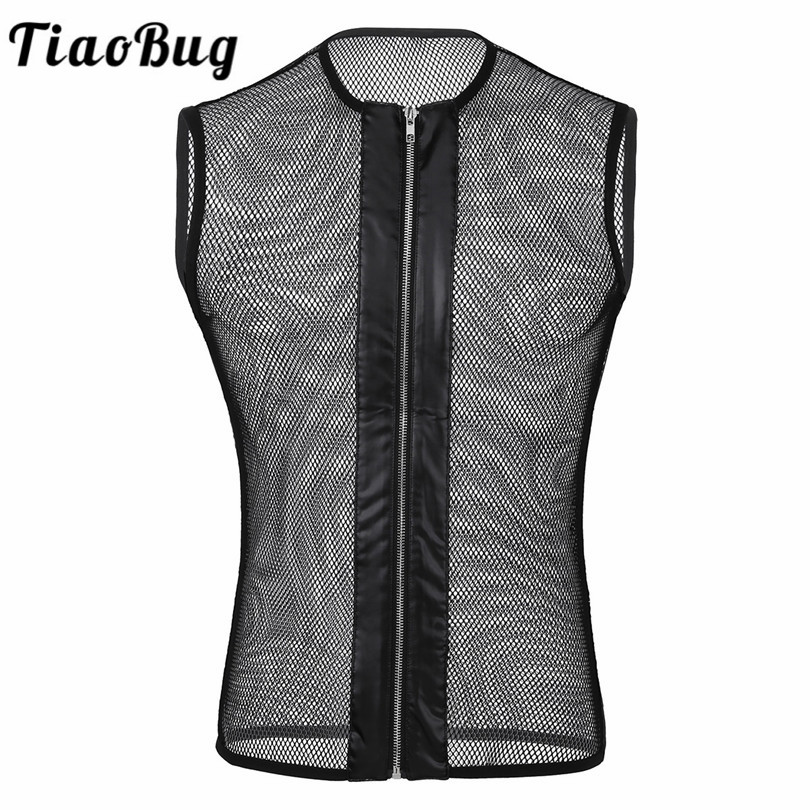 TiaoBug Mesh Sleeveless O-neck See Through Fishnet Front Zipper Men   Tank     Top   Male Funny Sexy   Tank     Tops   Club Wear