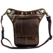 Haute qualité en cuir véritable messenger sacs pour hommes mâle petit sacs à bandoulière jambe sacs homme sacs courroie de peau de vache taille pack