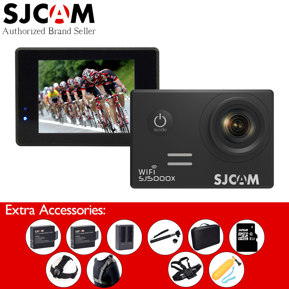 Original SJCAM SJ5000X 4K WiFi Elite Sport Action Video Camera+2 Extra Batteries+Charger+Selfie Stick+32GB Card+Many Accessories sport elite se 2450