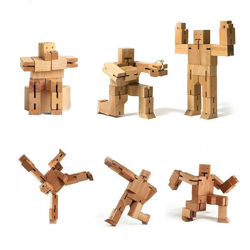 New Arrival Wooden Deformation Robot Kids Toys Educational Toy Game Wood Strange-Shape Deformatable Cube Toys For Children mother garden high quality wood toy wind story green tea wooden kitchen toys set