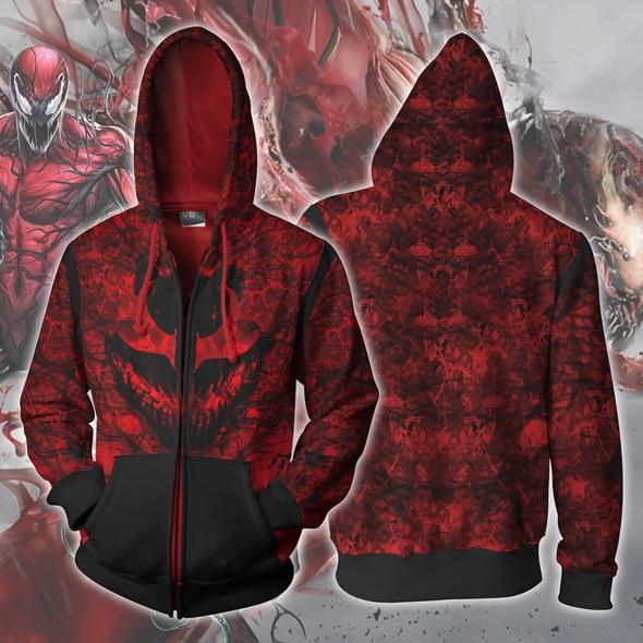 Amazing Spider-Man Carnage Costumes Cletus Kasady 3D Hoodies Zip Up Full Print Hoody Sweatshirt Spring Streetwear Cosplay Men
