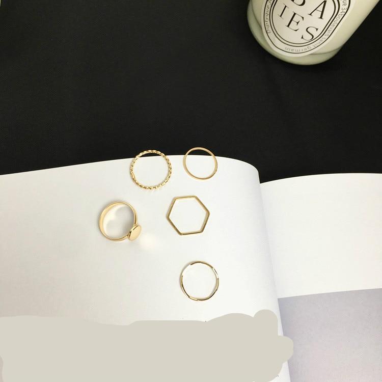 Ladies Ring Irregular-Tail-Ring Punk Simple-Wave Sales Personality Fashion Set 5piece-Suit