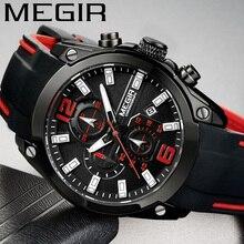 MEGIR montre bracelet étanche pour hommes, chronographe, militaire, marque de luxe, en caoutchouc, pour Business, montre de Sport, 2063