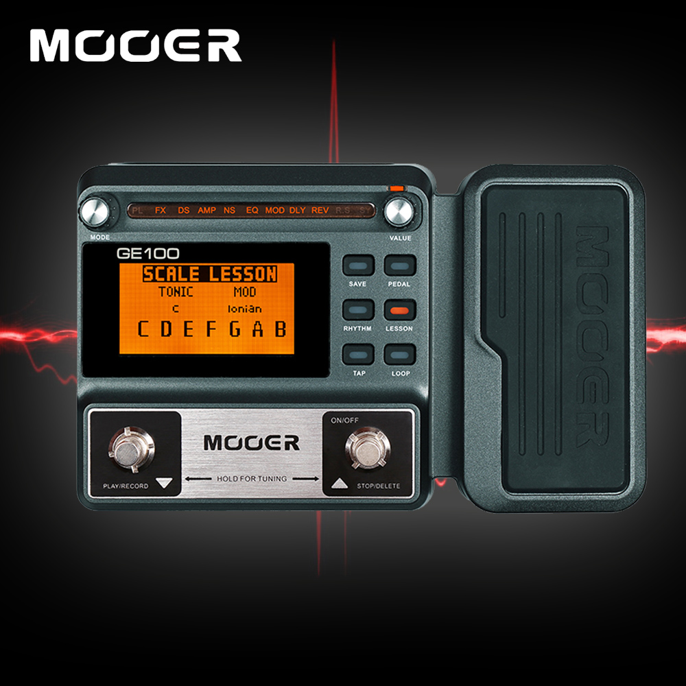 Mooer GE100 8 Effect Modules 66 Types Guitar Multi Processor Effects Padel With Loop Recording Tap Tempo Rhythm Setting Scale wavelets processor