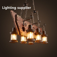 Retro Industrial Pendant Lamp 6 head Old Boat Wood Light American Country style Edison Bulb Free Shipping