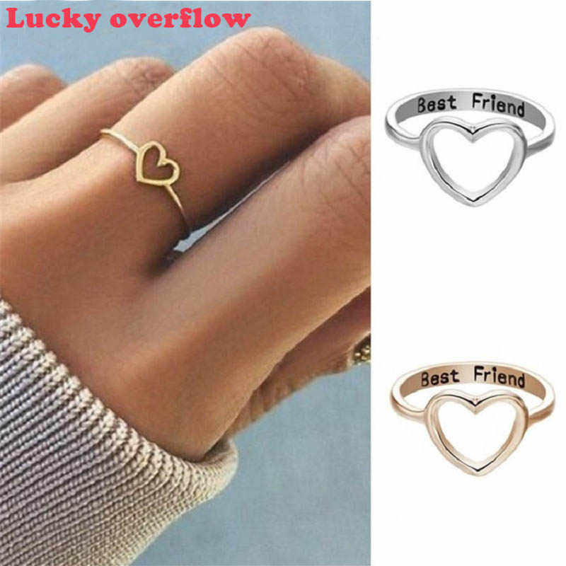 Luckyoverflow Best Friend New Fashion Rose Gold Color Heart Shaped Wedding Ring for Woman CE0616/11