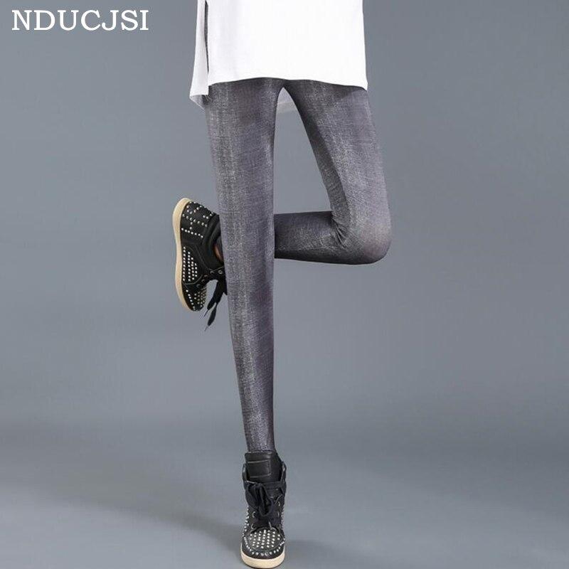 Nducjsi 2019 Girl Slim Legins Fitness Push Up Legging Casual Elastic Printed Leggins Women's Summer Milk Silk Nine Leggings