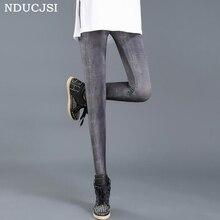 NDUCJSI 2018 Girl Slim Legins Fitness Push Up Legging Casual Elastic Printed Leggins Womens Summer Milk Silk Nine Leggings