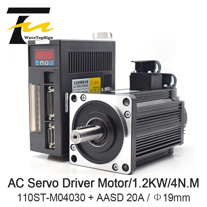 Kits de servomoteur à courant alternatif WaveTopSign 1.2KW 4N. M 3000 tr/min 110ST-M04030 moteur à courant alternatif assorti servomoteur AASD 20A moteur complet