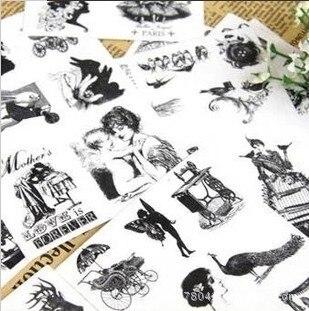 15 sheets set Bentoy New vintage retro pvc scrapbook stickers DIY Multifunction note sticker Decoration label
