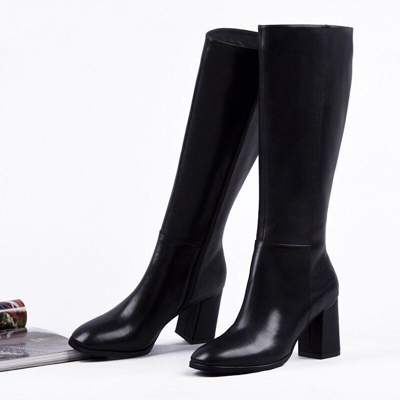 Épais Élégant À dans Dames Cuir Femmes Donna L'intérieur Black Bottes Véritable Carré Orteil Talons Hauts En GenouHaute Chaussures Zipper 80wnkOP