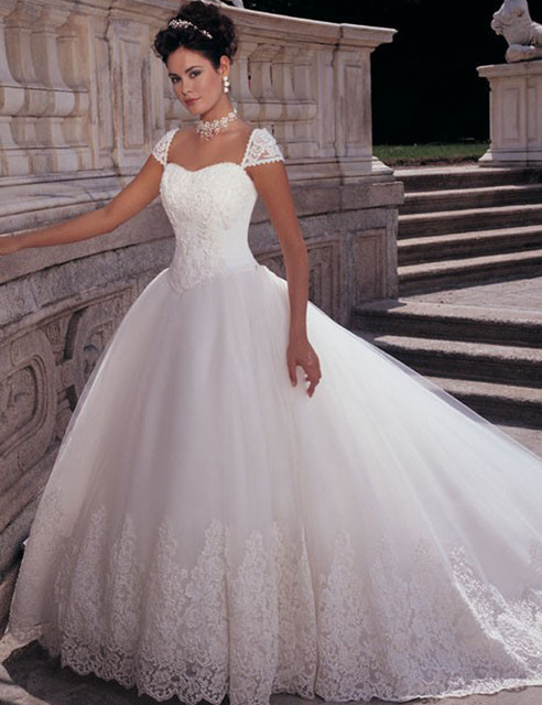 Fairytale Princess Wedding Dresses Vernassa Cap Sleeve Beaded ...
