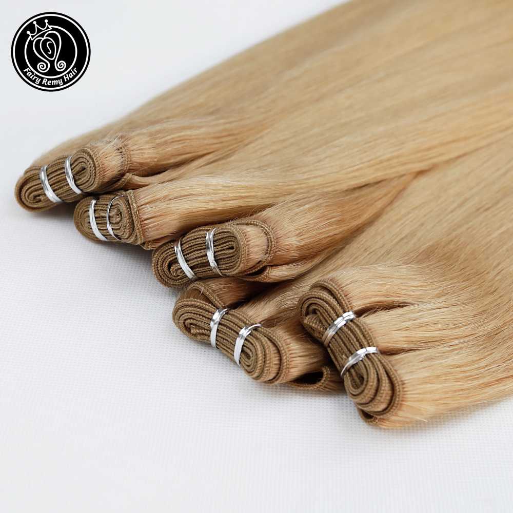 Double Drawn Remy Human Hair Weft Natural European Ash Blonde #14 Straight Bundles Hair Extensions 18