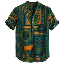 Womail Fashion Plus Size Shirts Men Cotton Linen Printed Short Sleeve Casual Hen