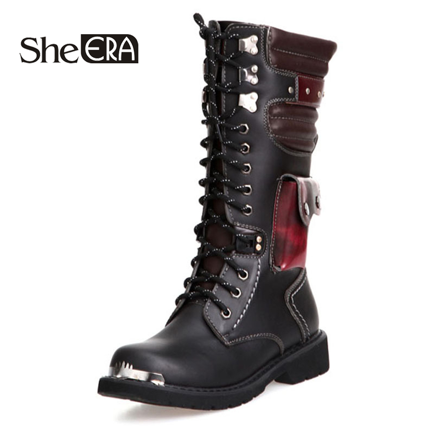 She ERA Mid-Calf High Boots Mens Military Boots PU Leather Men Motocycle Boots Cowboy Riding Boots Men's Shoes Dropshipping