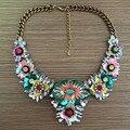 2016 New Luxury Shourouk Style Crystal Flower Statement Necklace Fashion Women Jewelry Vintage Gems Choker Necklaces Pendants