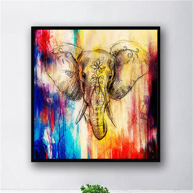 City New York Oil Painting On Canvas Wall Art For Living: Frameless Square Canvas Oil Painting Colorful Elephant