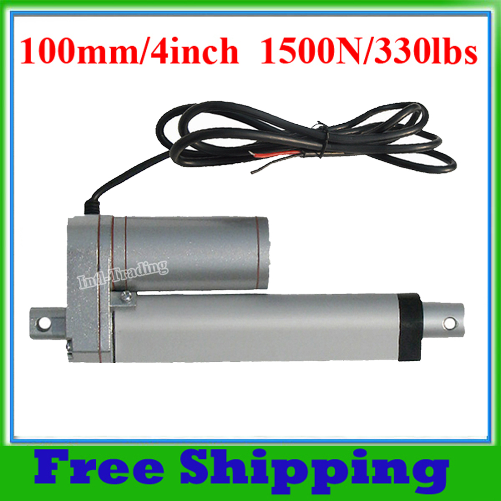 """Electric Linear Actuator 100mm 4"""" Stroke Linear Motion 5.7mm/s 1500N 330lbs Heavy Duty 12V DC Motor for Auto Car Boat Door Open-in DC Motor from Home Improvement    1"""