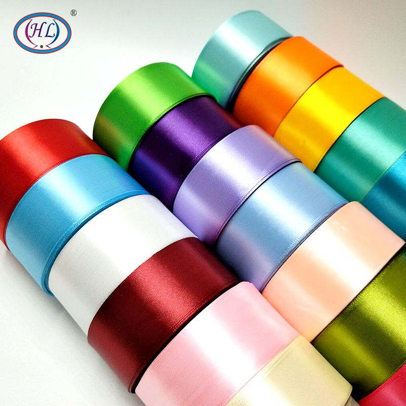 HL 6/10/15/20/25/40/50mm 25 Yards Satin Ribbons DIY Artificial Silk Roses Supplies Handicraft Sewing Accessories Material