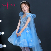 Beauty Emily 2018 little fairy tulle kids prom dresses for weddings baby party dream like blue flower girls dress