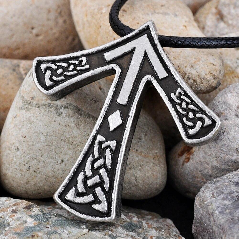 Ravens Heads Viking Runic pendant. Raven Tiwaz pendant Viking Runes TYR Rune Viking pendant Rune pendant