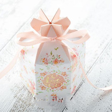 50pcs flower box10x6x7cm New High grade creative European pink Large chocolate Candy Boxes Wedding Favors Paper Gift Box package
