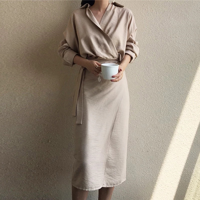 BGTEEVER Casual V Neck Solid Midi Wrap Women Dress Lace Up High Waist Full Sleeve Female Dress Retro Blusas Vestido Mujer 2019