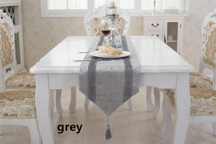 32210cm New Luxury Shiny Continental Minimalist Fashion Striped Table Runner Diamond Coffee Cloth Towel