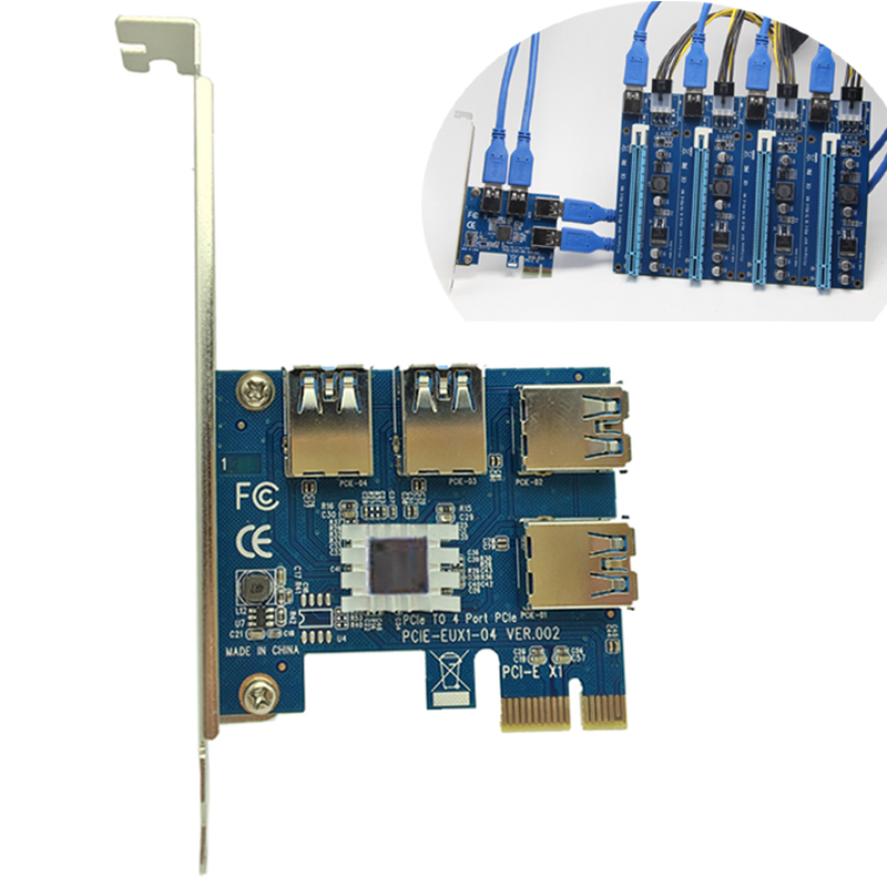 4 Slots PCI-E 1 to 4 PCI Express 16X Slot External Riser Card Adapter Board PCIE Multiplier Card for BTC Miner