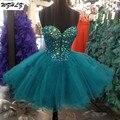 Rosa claro Y Azul Real Cristales Piedras Diseñador Vestidos de Coctel de Tulle Cortos Vestidos de Baile
