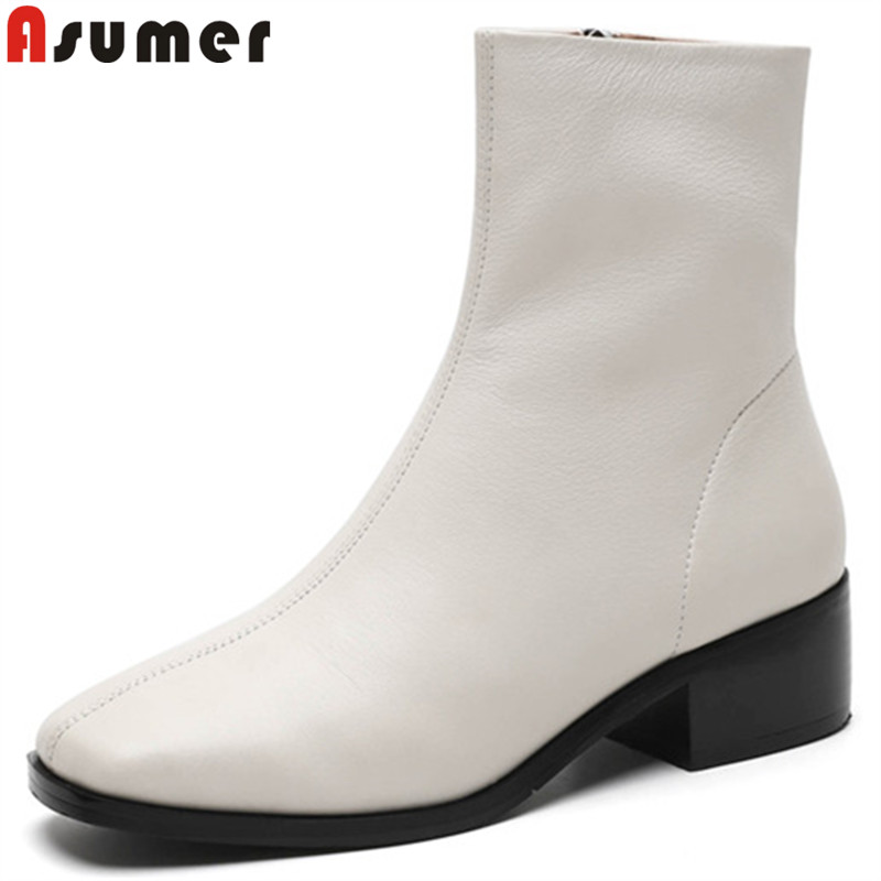 ASUMER black fashion hot sale new ankle boots for women square toe genuine leather boots square heel autumn winter boots ladies dhl free shipping in stock new arrival english version ds 2cd2142fwd iws 4mp wdr fixed dome with wifi network camera