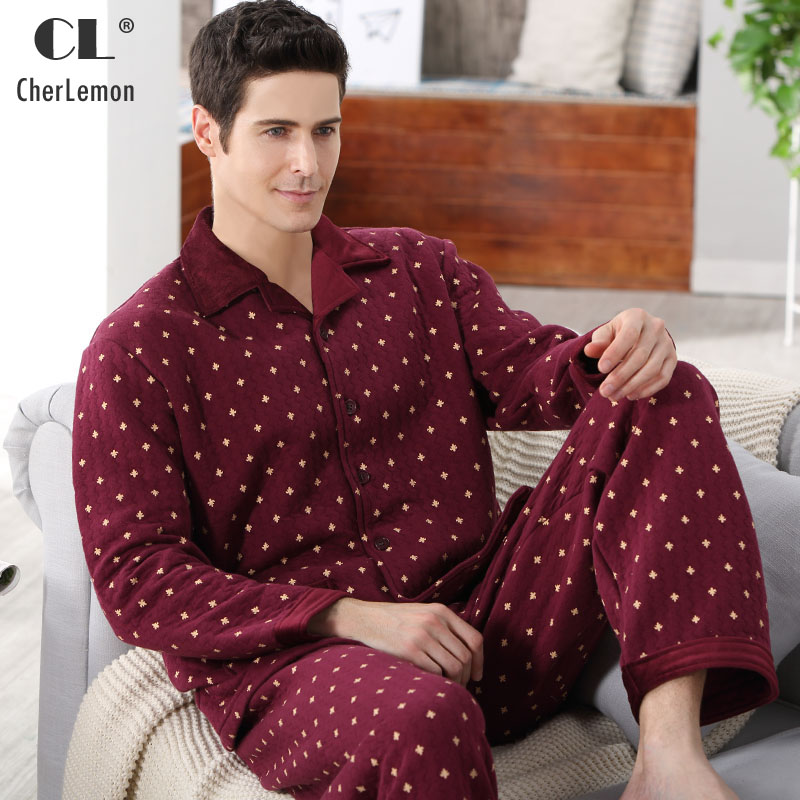 CherLemon Mens Thicken Quilted Cotton Plaid Pajamas Homewear Long Sleeve Warm Winter Pyjamas Sleepwear Male Sleep Lounge M-4XL