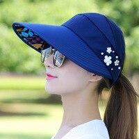 Chapéu de golfe Senhora Viagem Folding Versão Coreana do Sol de Verão Chapéu Das Mulheres Ao Ar Livre Anti-ultravioleta Algodão Da Menina de Flor Chapéu de basebol