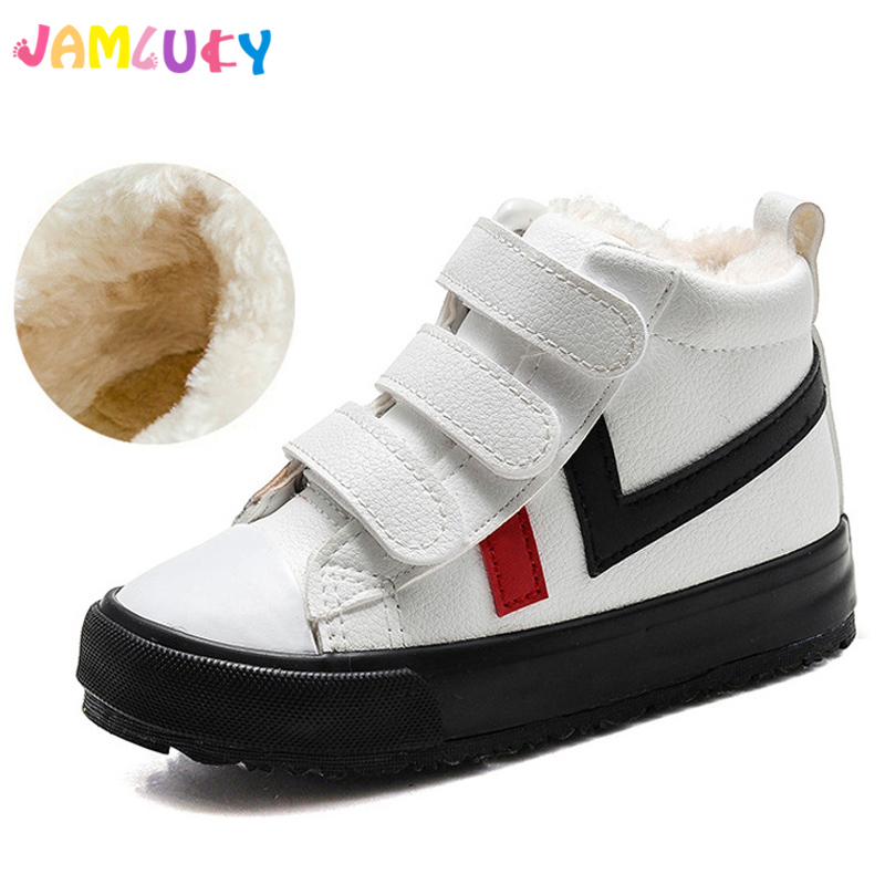 Winter Children Shoes Boys Snow Sports Sneakers For Girls Flat PU Leather Shoes Rubber Fashion Plush Warm Kids Winter Shoes Girl babyfeet 2017 winter fashion warm plush high top genuine cow leather children ankle girls snow boots kids boys shoes sneakers