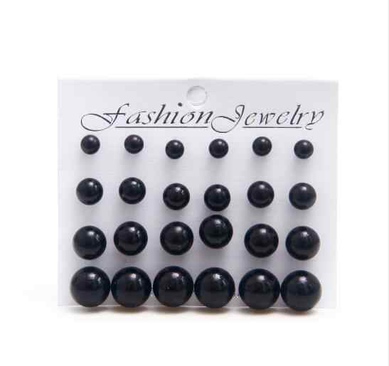 12 pairs/set Black Simulated Pearl Earrings Set For Women Jewelry Accessories Piercing Ball Stud Earrings kit Bijouteria brincos