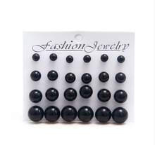 12 pairs/set Black Simulated Pearl Earrings Set For Women Jewelry Accessories Piercing Ball Stud Earrings kit Bijouteria brincos(China)