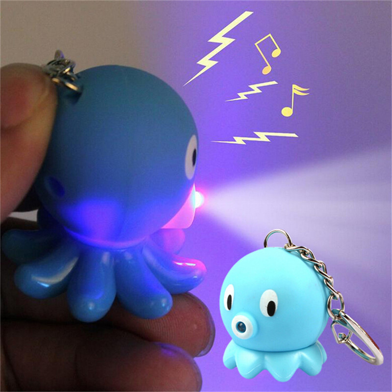 1PC LED Sea Animal Keychains Octopus Action Figure Toys With Sound Keychains Kids Gifts