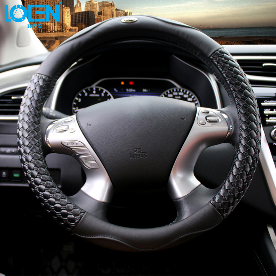 High Quality Leather Auto Car Steering Wheel Cover 38CM/15'' Anti-catch Holder Protector For Chevrolet Ford etc. 95% Cars dermay high quality car genuine leather steering wheel cover massage m size for lada ford nissan vw skoda chevrolet etc 98% car